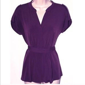 BOGO 🆕 GAP purple sash tie short sleeve blouse